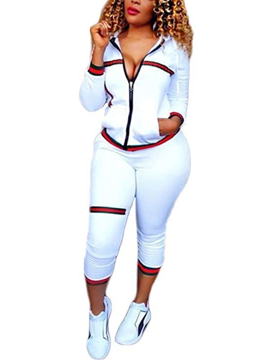 cf22ce01817a Akmipoem Women's 2 Pieces Outfits Long Sleeve Zipper Jacket and Pants Set  Tracksuits at Amazon Women's Clothing store: