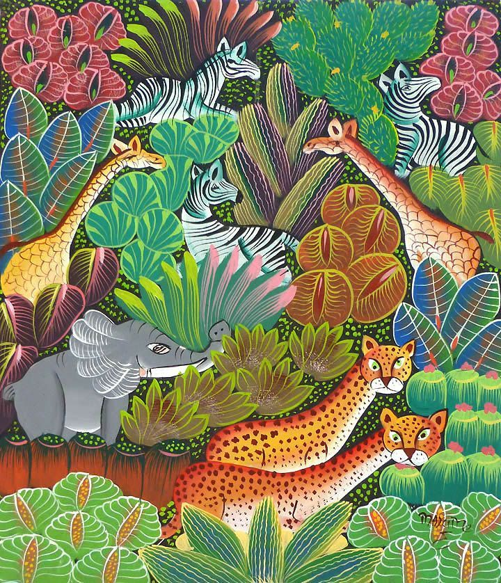 """Haitian Painting - Haitian Art -Jungle Scene - Canvas Art of Haiti - Caribbean Art, Canvas Painting - Original Art -  20"""" x 24"""" - 282 by TropicAccents on Etsy"""