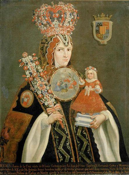 circa 1740-60.Portrait of Sor Juana de la Cruz Cortés and Arauz from the convent of San Jeronimo de Mexico, erroneously named portrait of Sor Juana Inés de la Cruz.oil on canvas. 105×80cm. Museum of the Americas (Madrid)