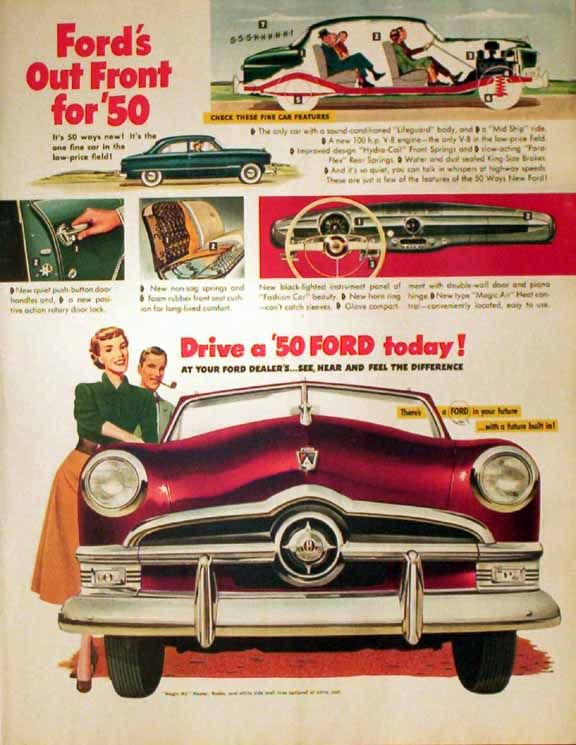 ... 1949 Ad - 1950 Car Features , Automobile - Ford / Lincoln Car Ads