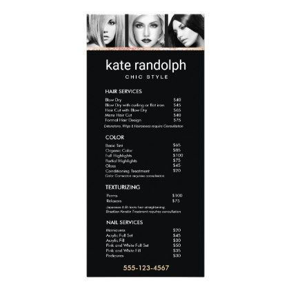 Add Your Own Photos Black Salon Price List Menu  $0.50  by sm_business_cards  - cyo diy customize personalize unique