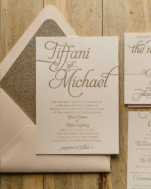 Wedding Invitation Inspiration gold invitation copy
