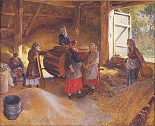 """Russian women using a hand powered winnowing machine in a threshing barn. Note the board across the doorway to prevent grain from spilling out of the barn, this is the origin of the term threshold. Painting from 1894 by Klavdy Lebedev titled """"The Floor"""" or """"The Threshing Floor."""""""