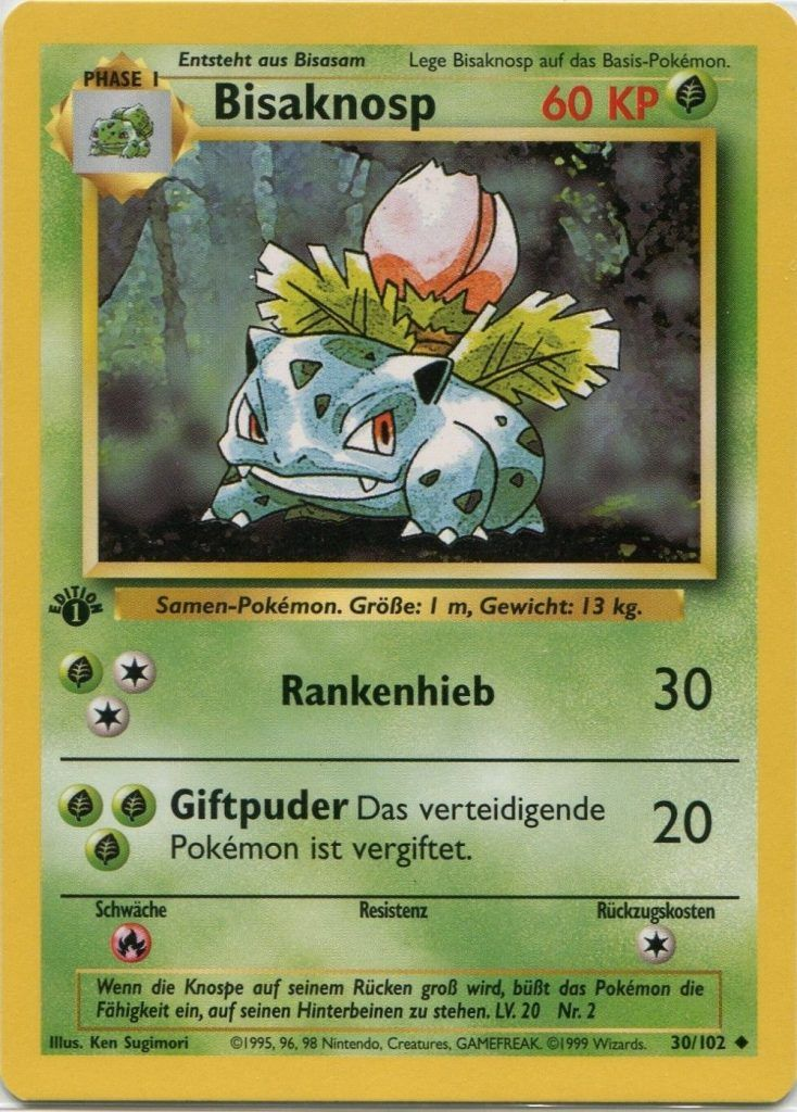 Bisaknosp Ivysaur 30 102 Pokemon Rare 1st Edition Base Set