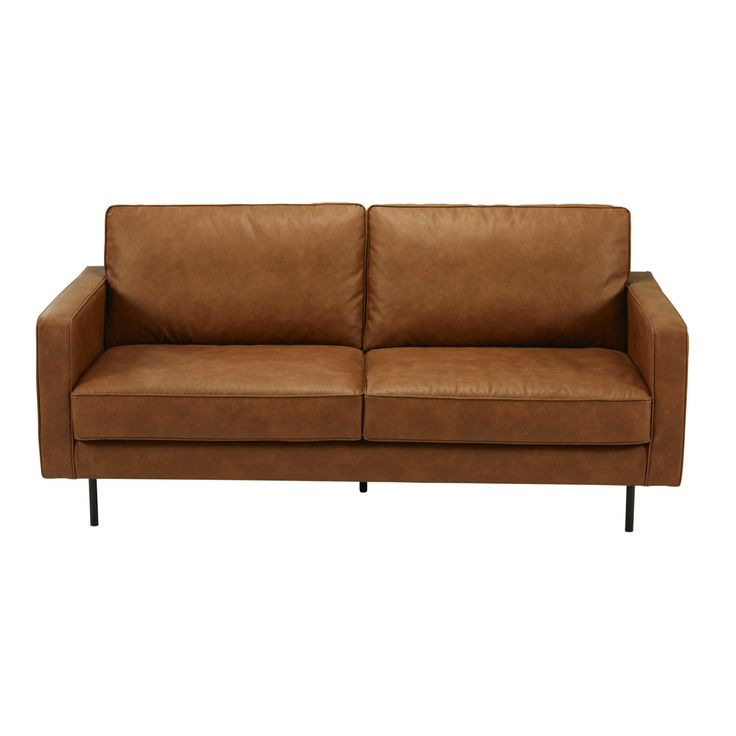 VINTAGE STYLE Are you looking for a comfortable sofa for a small living room? Adopt the HABEL 2/3-seater sofa. Its camel colour and coated textil