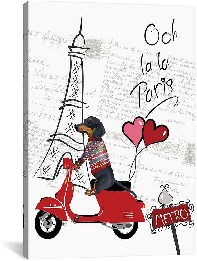 Dachshund In Paris Wrapped Canvas
