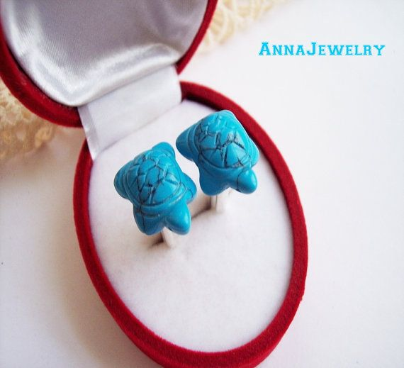 Carved Natural Turquoise Cufflinks Scorpio by annajewelry64