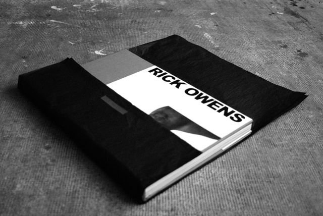 FRONT COVER OF THE NEW RICK OWENS BOOK PUBLISHED BY RIZZOLI, BEING UNPACKED AT THE SOME/THINGS OFFICE