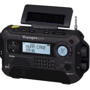 solar-powered, battery, outlet, or crank-powered, compact emergency radio