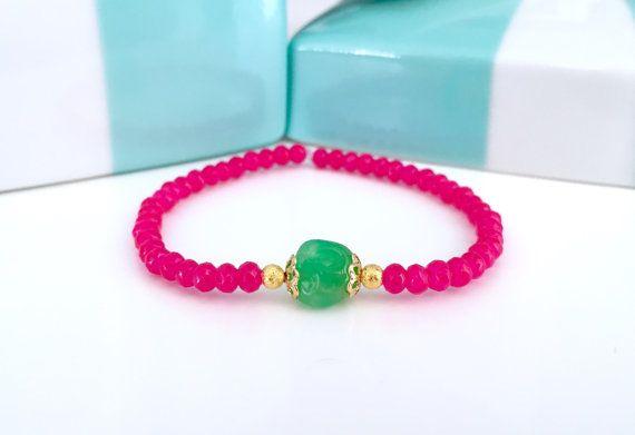 Mala Bracelet Neon bracelet Hot Pink bracelet by VibeJewelryAnnaK