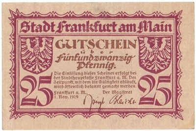 An Uncirculated 1919 25 Pfennig Banknote from Frankfurt Germany