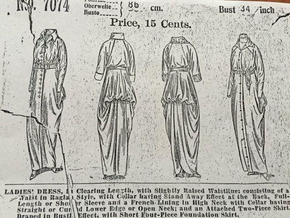 1913-1914 Dress Pattern, Vintage Dress Pattern, Past Patterns #7074, Butterick…
