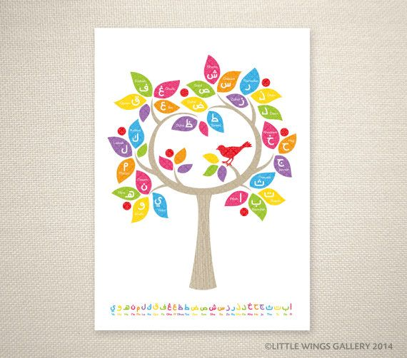 Arabic Alphabet Tree Rainbow Islamic Art by LittleWingsGallery, $20.00