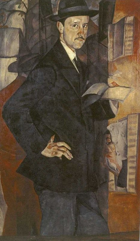 Portrait of M.V. Dobuzhinsky, 1917 by Boris Grigoriev (Russian, 1886 - 1939).....Dobuzhinsky or Dobujinsky (1875-1957) was a Russian-Lithuanian artist noted for his cityscapes conveying the explosive growth and decay of the early twentieth-century city......