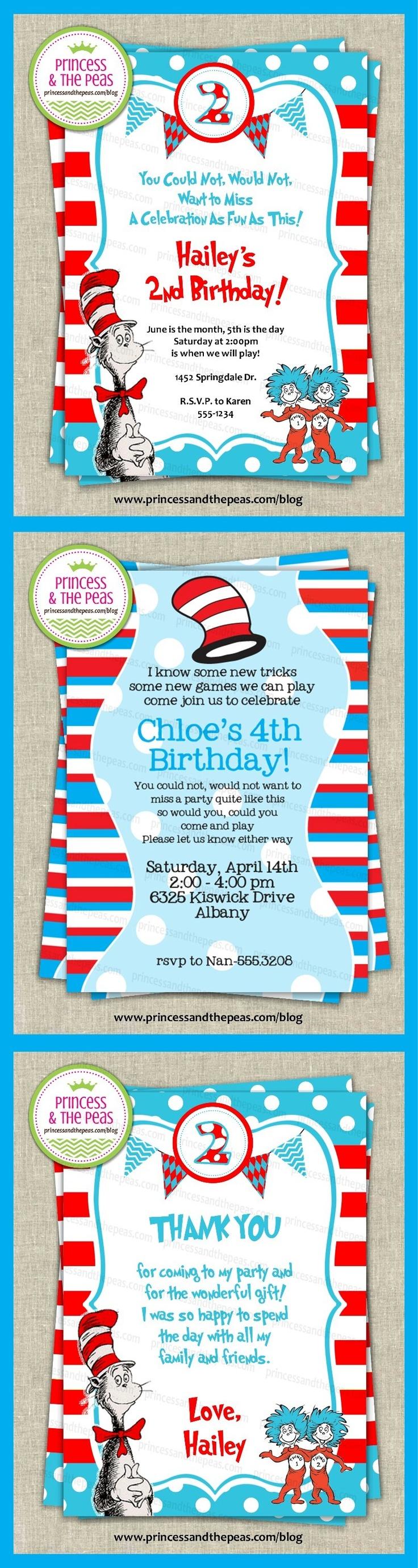 dr. seuss invitations | dr. seuss thank you cards | dr. seuss party ideas | dr. seuss birthday party  http://www.princessandthepeas.com/blog  #drseussparty #drseussbirthdayparty #drseussinvitations