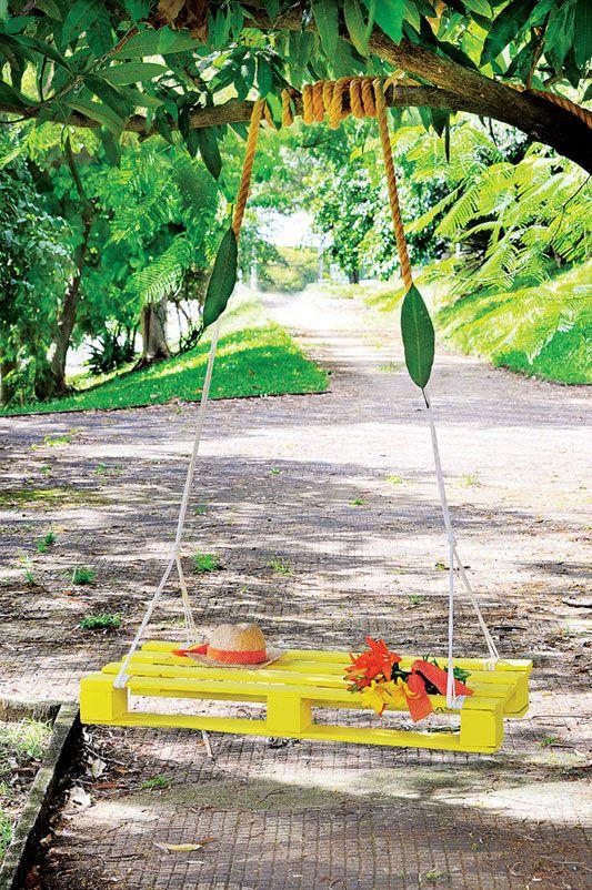Balanço de palete: Pallets Gardens, Pallets Swings, Gardens Swings, Trees Swings, Wood Pallets, Pallet, Pallets Projects, Swings Sets, Diy Pallets