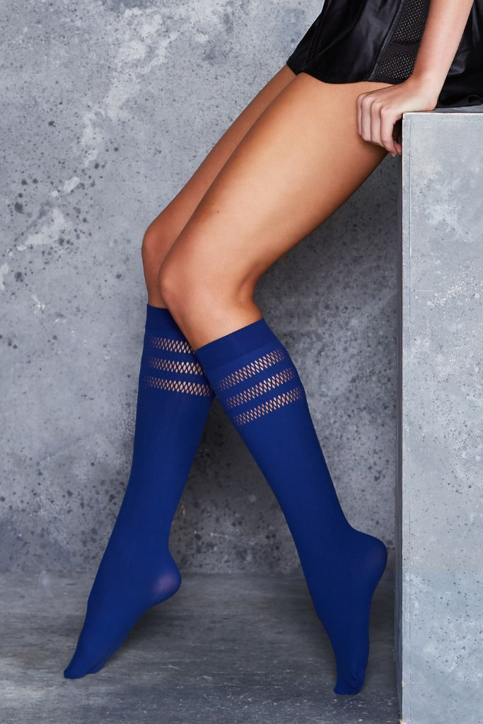 Sporty Stripes Indigo Knee Highs - LIMITED ($20AUD) by BlackMilk Clothing