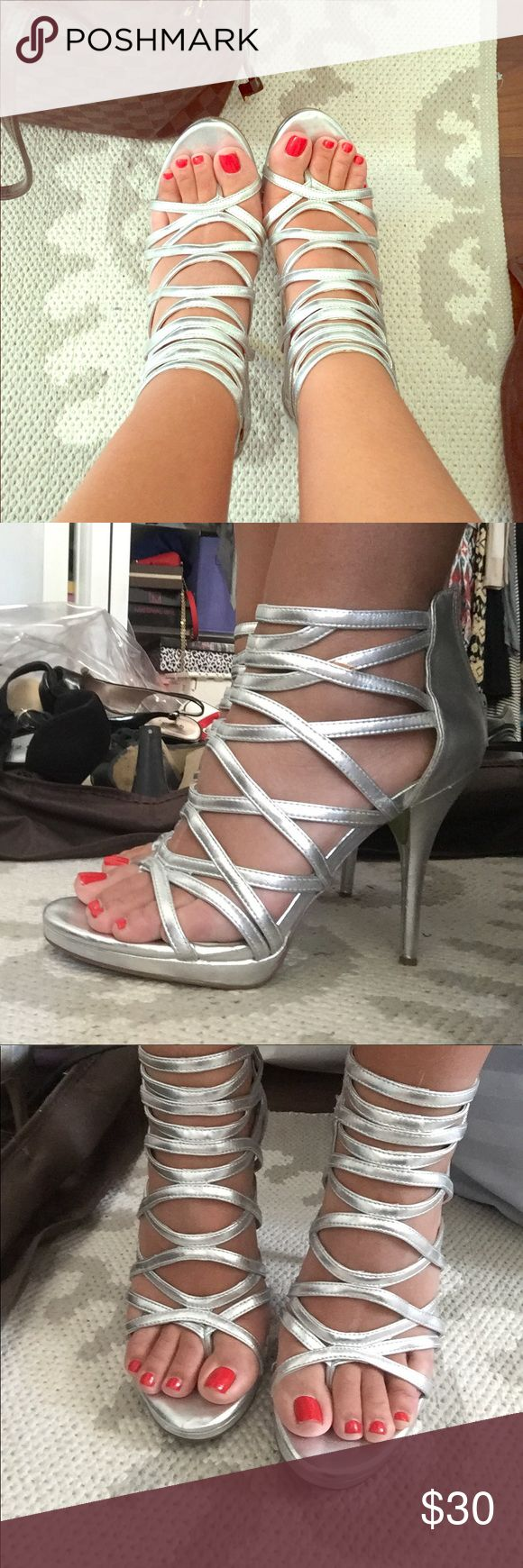 Silver strappy heels Silver strappy heels with zip up back. Great condition and comfortable to wear! Shoes Heels