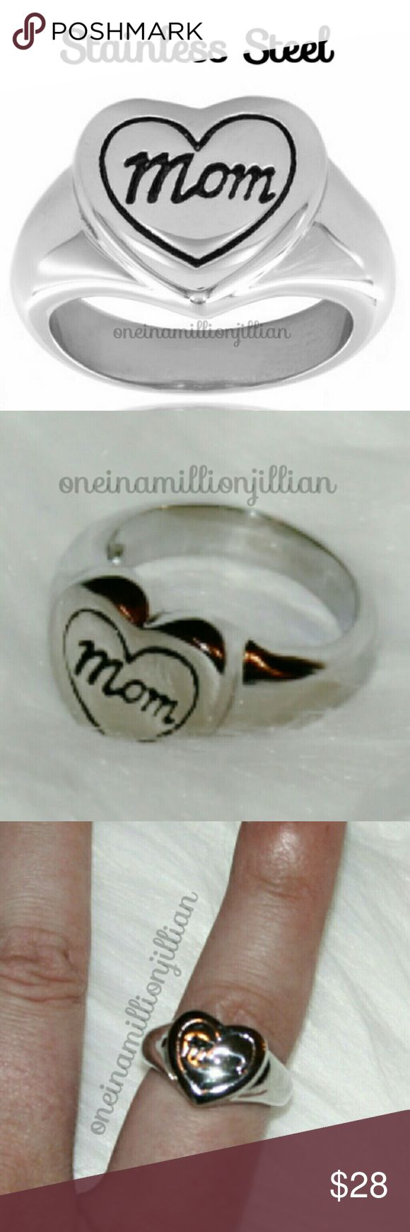 High Polished Stainless Steel Engraved Mom Ring New - Never Worn  Will come gift boxed  Size: 8  Let her know how much she means to you with this stainless steel heart ring. A laser-cut heart is engraved with a black 'Mom' message & border to form this elegant & thoughtful piece   ◇ Measures approx 13mm wide x 2mm thick ◇ Band measures 2mm wide  Stainless steel is corrosion resistant! Won't rust, tarnish or oxidize & turn your finger green. It looks AMAZING, is highly affordable & can…
