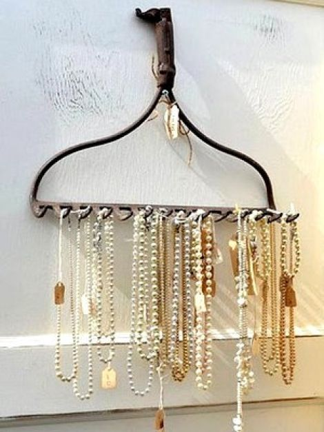 Homemade necklace holder. (The husband will LOVE this idea!)