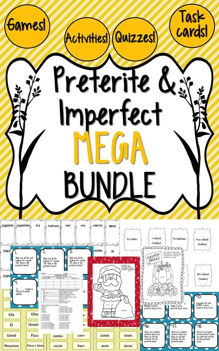 This Spanish preterite and imperfect tenses MEGA bundle includes FIFTEEN of my preterite and imperfect tense resources at a savings of more than 25% vs. if you bought them individually! That's four 48-card task card sets, two super fun ¡Pesca! games, three lively ¡Cucharas! games, my two hands-on sentence building activities, the easy-to-grade preterite quizzes and answer keys, a preterite and imperfect crossword puzzle, and two holiday coloring activities.