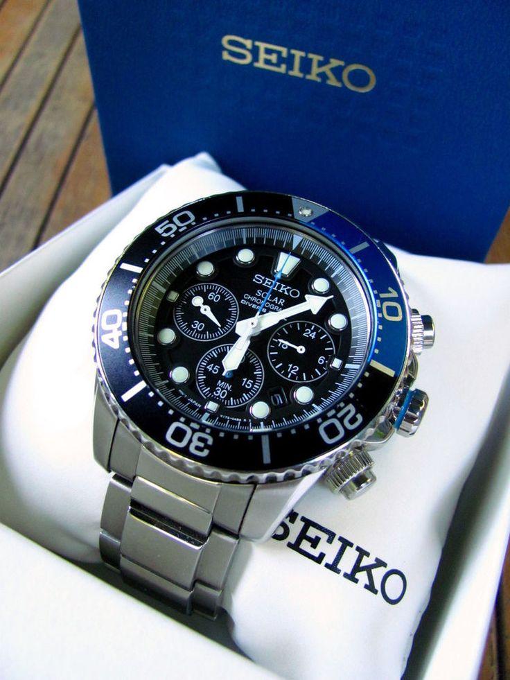 Seiko Solar Dive Chronograph SSC017 Black and Blue on Stainless Bracelet Ex. #Seiko #Sport