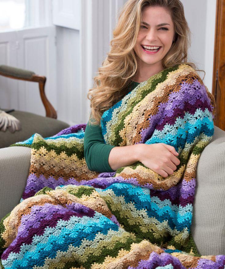 Twilight Shells Throw by Marianne Forrestal | Red Heart Yarns - Easy Crochet (Free pattern)