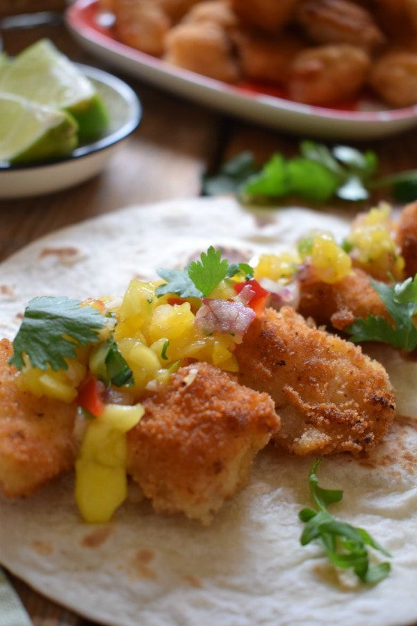 Fish Tacos with a Spicy Mango Salsa