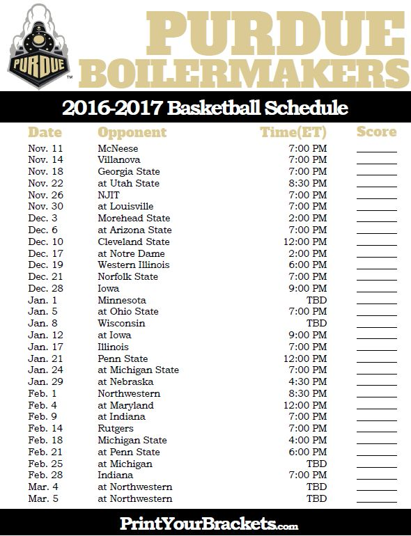 Purdue Boilermakers 2016-2017 College Basketball Schedule