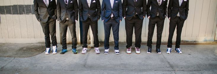 Groomsmen in Jordans. LVL Weddings and Events // Venue: 440 Seaton // Photography: Shane and Lauren Photography // DJ: SoCal Mobile DJ // Hair and Make Up: Mimica Blasco // Photobooth: Photo Moto Media // Caterer: Max City BBQ // Lighting: Pacific Event Lighting // Piano Rental: Kim's Piano // Rentals: Imperial Party Rentals // Florist: In Flower Design // Security: Sandman Security // Bridal Gown: Watters