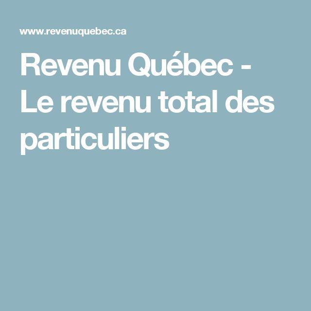 Revenu Québec - Le revenu total des particuliers