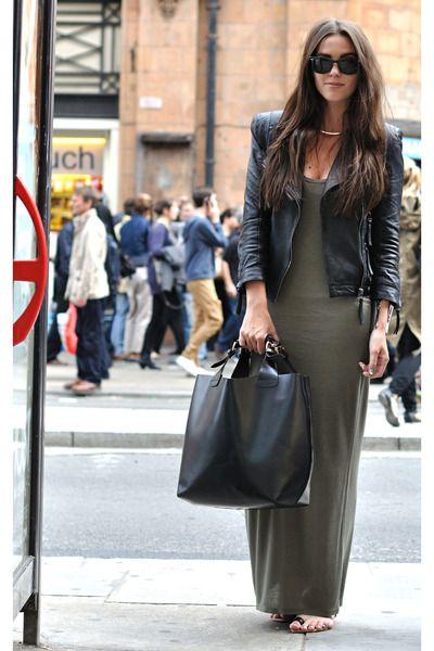 Wearing: jacket, sandals, bag: Zara, maxi dress: Oasis.