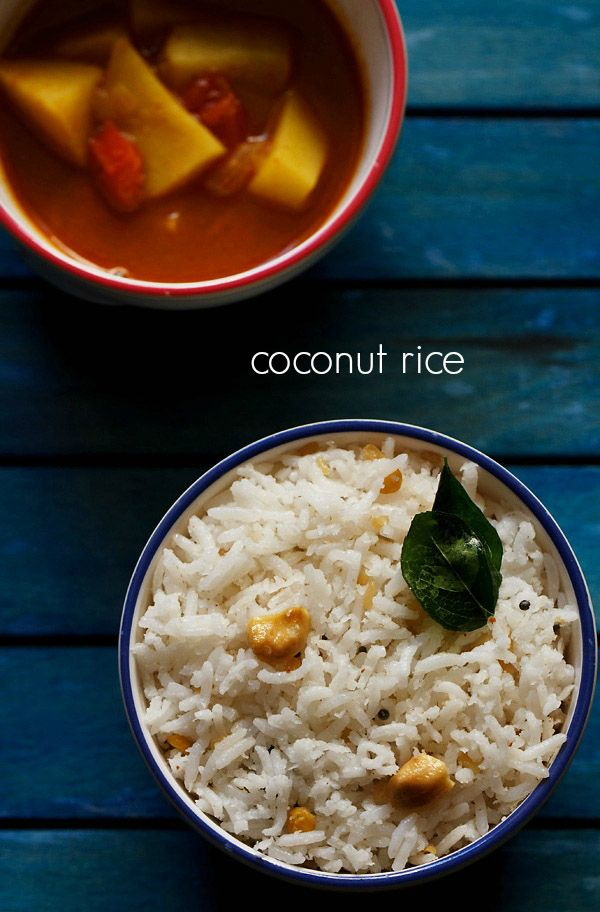 coconut rice rice - light, mild south indian coconut rice recipe made with fresh grated coconut.  #coconut #rice