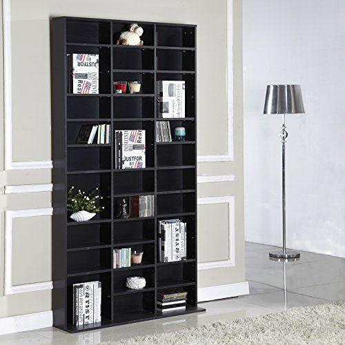 Homcom 1116 CD/528 DVD Storage Shelf Rack Media Storage Unit Shelves Racks Wooden Shelf Bookcase Display Unit Adjustable (Black) by Homcom:…