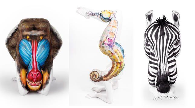 """Художничката Емма Фей (Emma Fay) от Лестър, Великобритания създава наистина впечатляващи рисунки върху човешки тела. В една от своите серии """"Чудесата на природата"""" (The Marvels of Nature) тя превръща хора в различни животни."""