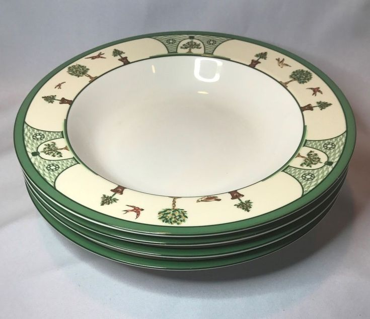 Rare Christian Dior Le Jardin Large Rim Soup Bowl Set of 4 - Discontinued #ChristianDior