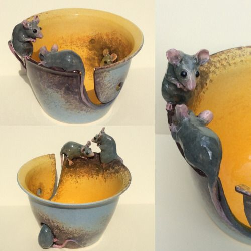 "Mice yarn bowl remake. 7.5"" diameter. Available at earthwoolfire.etsy.com"