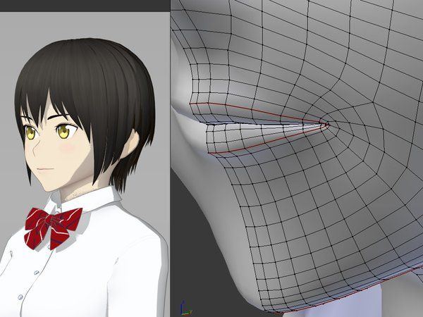 Anime Characters Zbrush : D anime lips topology toon shader loop