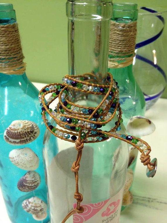 Leather wrap bracelet by Stitchingnthings on Etsy