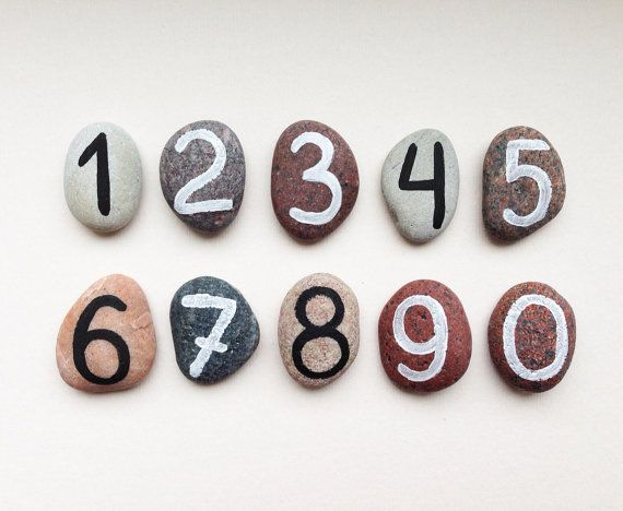 10 Numbers Magnets, Beach Pebbles by Happy Emotions, Educational Toy for Kids, Homeschooling, Cheap Gift Ideas, Sea Stones, Rocks