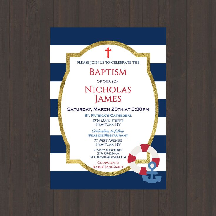 Navy & White Stripe Nautical Baptism Christening Invitation, Boys Baptism Christening Invite, Nautical Anchor, Red, 4x6 or 5x7- Digital File by CelebrationsbyMaria on Etsy