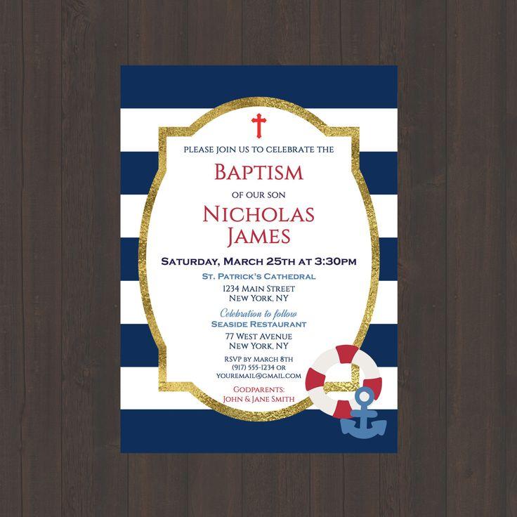 Navy & White Stripe Nautical Baptism Christening Invitation, Boys Baptism Christening Invite, Nautical Anchor, Red, 4x6 or 5x7- Digital File by CelebrationsbyMaria on Etsy