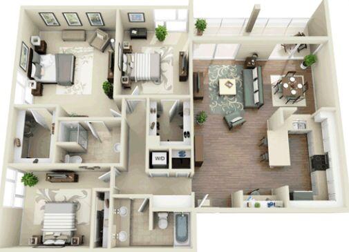 382 best house plan 3D images on Pinterest House template, Bedroom - faire une maison en 3d