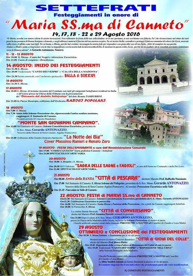 Programma delle manifestazioni religiose e civili legate a Santa Maria di Canneto e a Settefrati!
