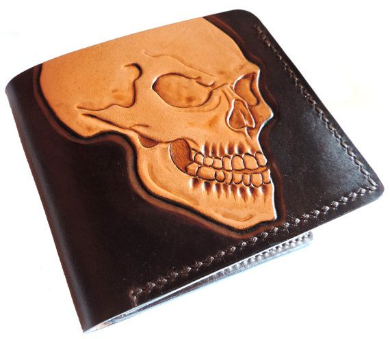 Hand tooled leather wallet - skull
