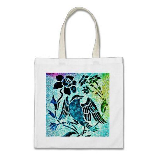 Bird Mosaic Art Tote Bag. Mixed media piece. Art on a bag.