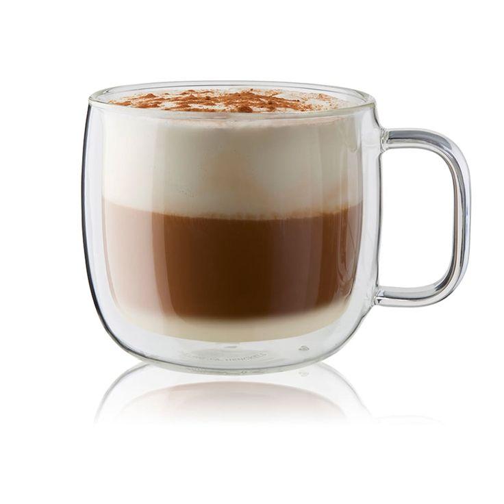 Zwilling Sorrento Plus 2-pc Double-Wall Glass Cappuccino Mug Set, Brown coffee