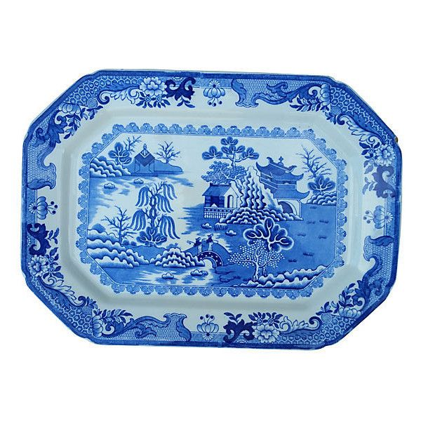 Pre-Owned Late Victorian Willow Wall Platter (£145) ❤ liked on Polyvore featuring home, kitchen & dining, serveware, blue willow platter, willow platter, blue and white platter and blue platter