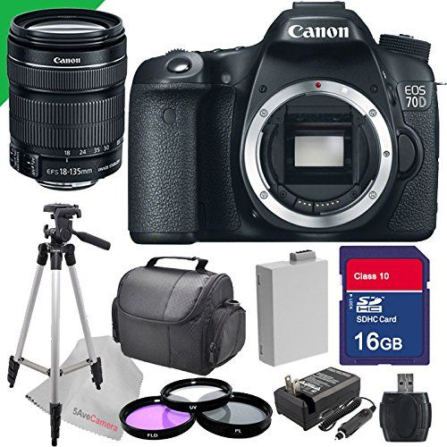 Canon EOS 70d Digital SLR Camera with 18-135mm STM Lens and 70 D Accessory Bundle By 5avecamera