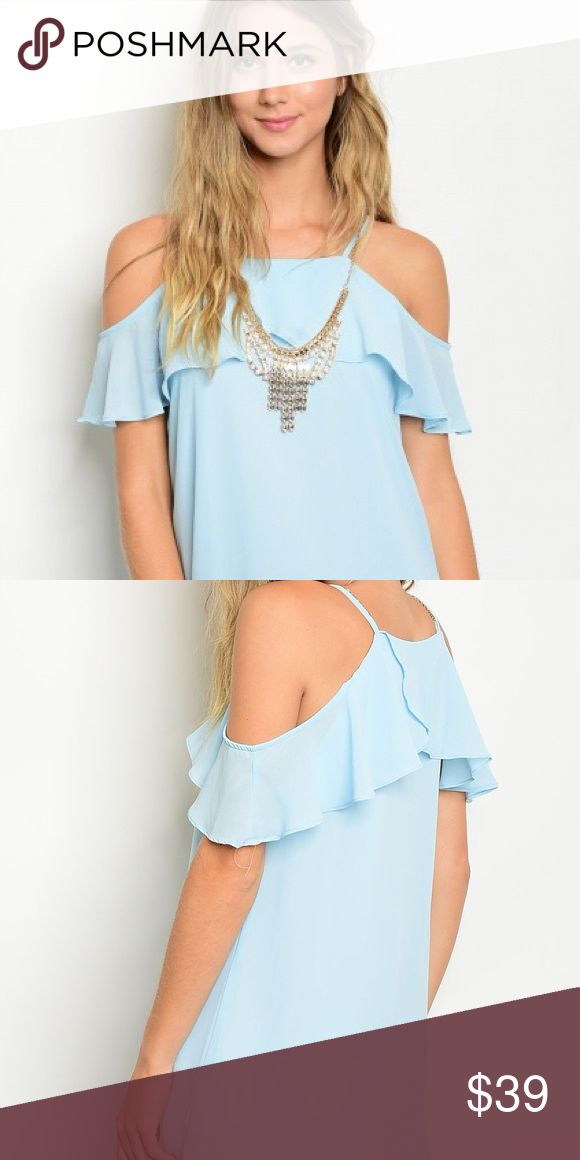 Nwt The Pink Reef Baby Blue Cold Shoulder Dress GRAND OPENING SALE 2 DAYS ONLY!!!Nwt! Breeze into any summer function with this comfy dress similar to Anthropologie.  Shop all the cute clothes from The Pink Reef Boutique! Anthropologie Dresses Mini